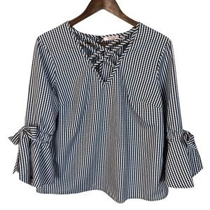 Tempted Gingham Tie Bell Sleeves Criss Cross Top